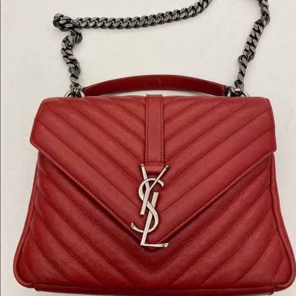 Yves Saint Laurent Handbags - YSL college bag medium red